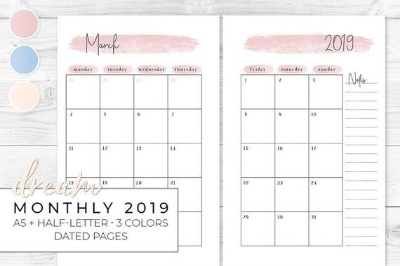 Printable Monthly 2019 Planner A5 Half Letter Monthly Calendar