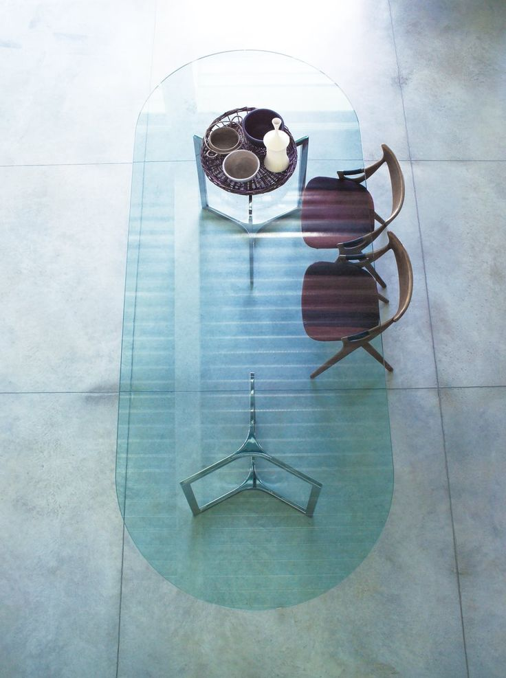 Raj Light, Table With Transparent Glass Top And Bright Stainless Steel  Base. Designed By