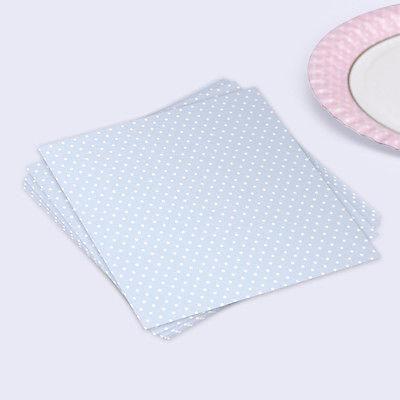 Polka Dot Pastel Blue Paper Napkins