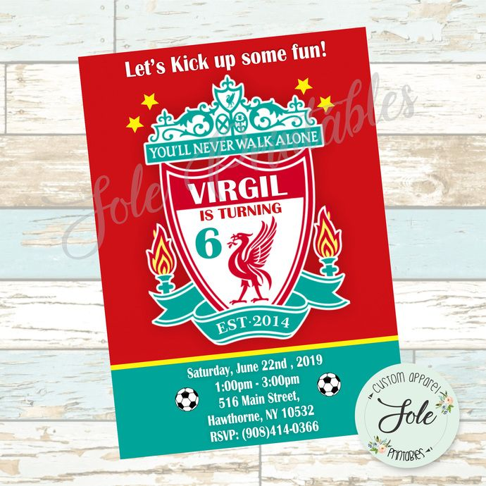 Liverpool Football Club Birthday Invitation Premier League England Soccer League No Instant Downlo Liverpool Football Club Liverpool Football Soccer League