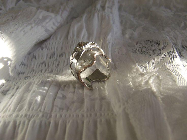 zilveren ring met rood-gouden details - diana buitink jewelry -