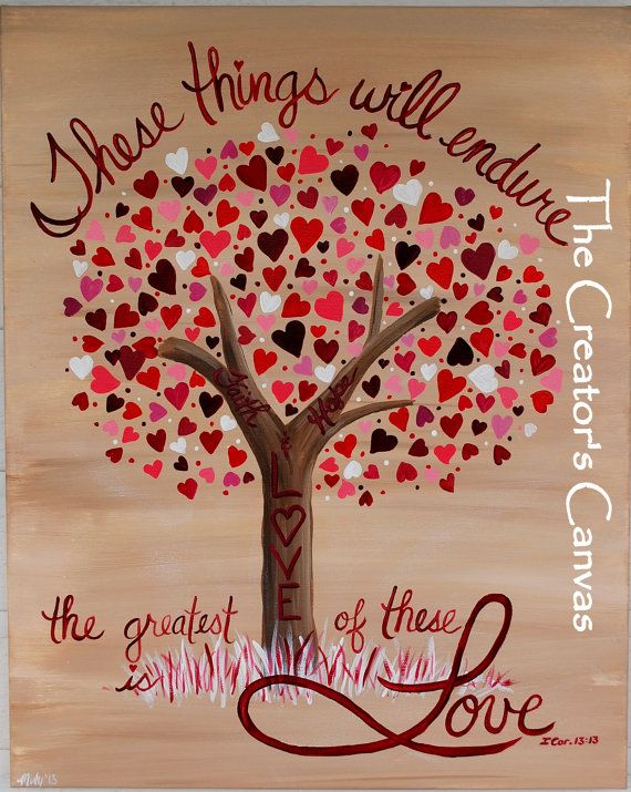 Faith, Hope, and Love Painting. Scripture, Bible Verse, Love and Hearts Tree on Etsy, $85.00