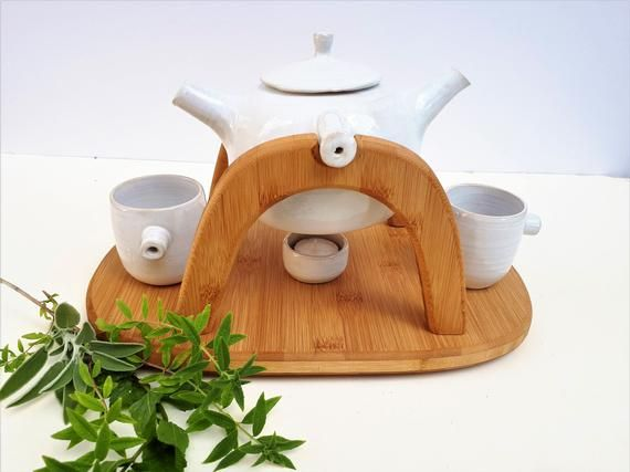 Tea For Two White Ceramic Teapot Set With Two Cups On A Etsy In 2020 Ceramic Teapot Set Ceramic Teapots Tea Pots