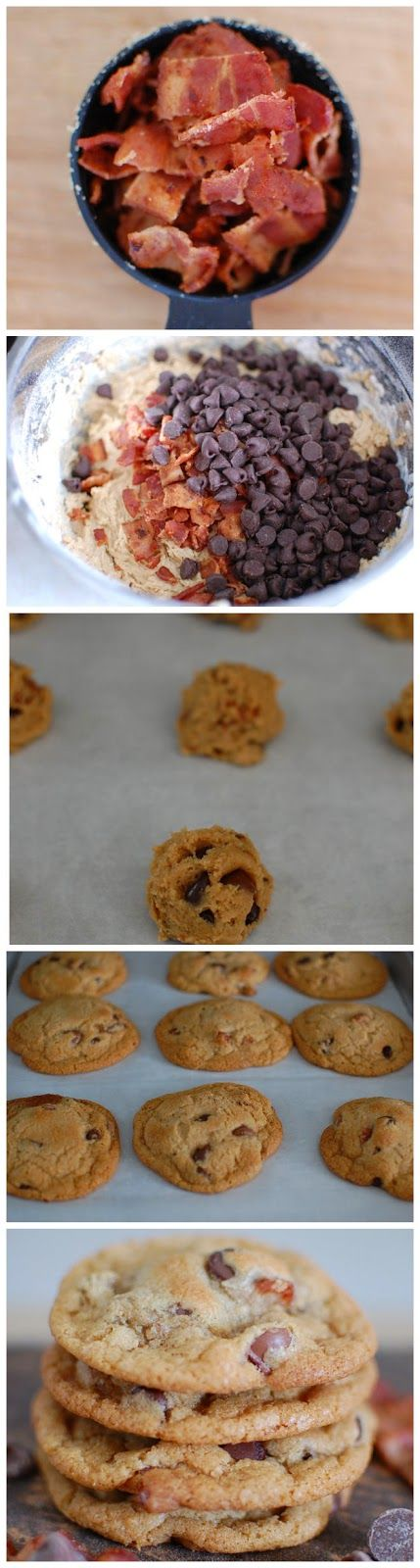 Made these Bacon Chocolate Chip Cookies for a church party tonight. Turned out really yummy! Substituted with g free flour with xanthum gum. -A 5/24/14   http://foodfunlife.blogspot.com/2013/02/bacon-chocolate-chip-cookies.html