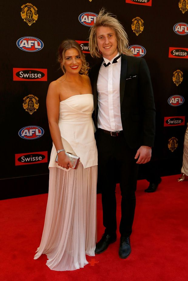 Dyson Heppell and the lovely Kate Turner at the 2014 #Brownlow Medals.