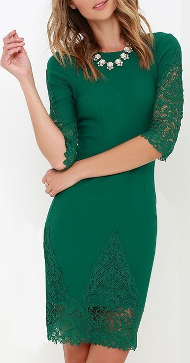 Myriad of Possibilities Green Lace Dress