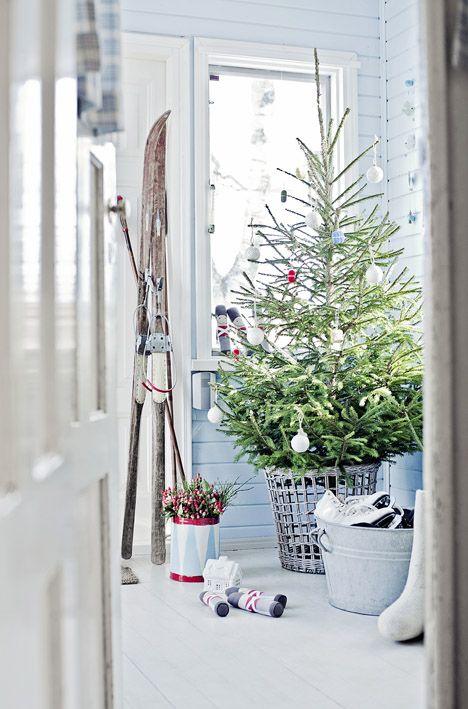 christmas tree in basket