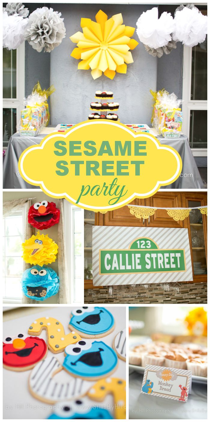 A chic and pretty Sesame Street birthday party in yellow, gray and white with fun party activities, favors and cookies!  See more party ideas at CatchMyParty.com!: