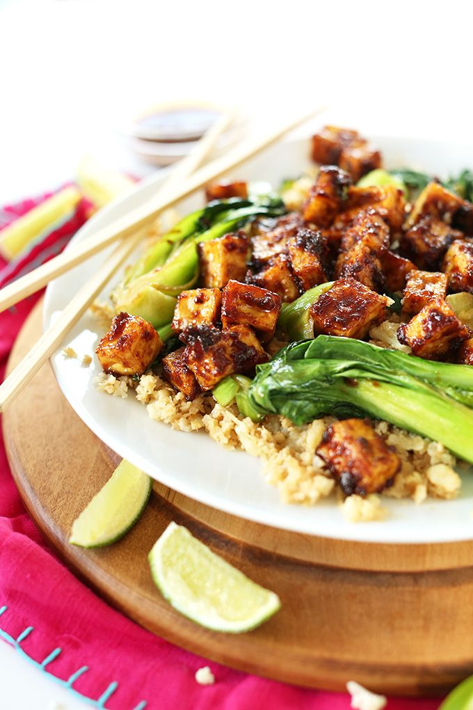 Easy Crispy Baked Tofu in a 5-ingredient Peanut-Sesame Glaze! #vegan #glutenfree #minimalistbaker
