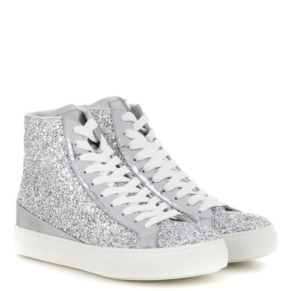 Tod's mytheresa.com Exclusive Sportivo High-Top Glittered Sneakers ($385) ❤  liked