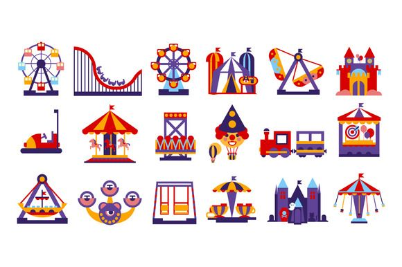Amusement Park Vector Flat @creativework247