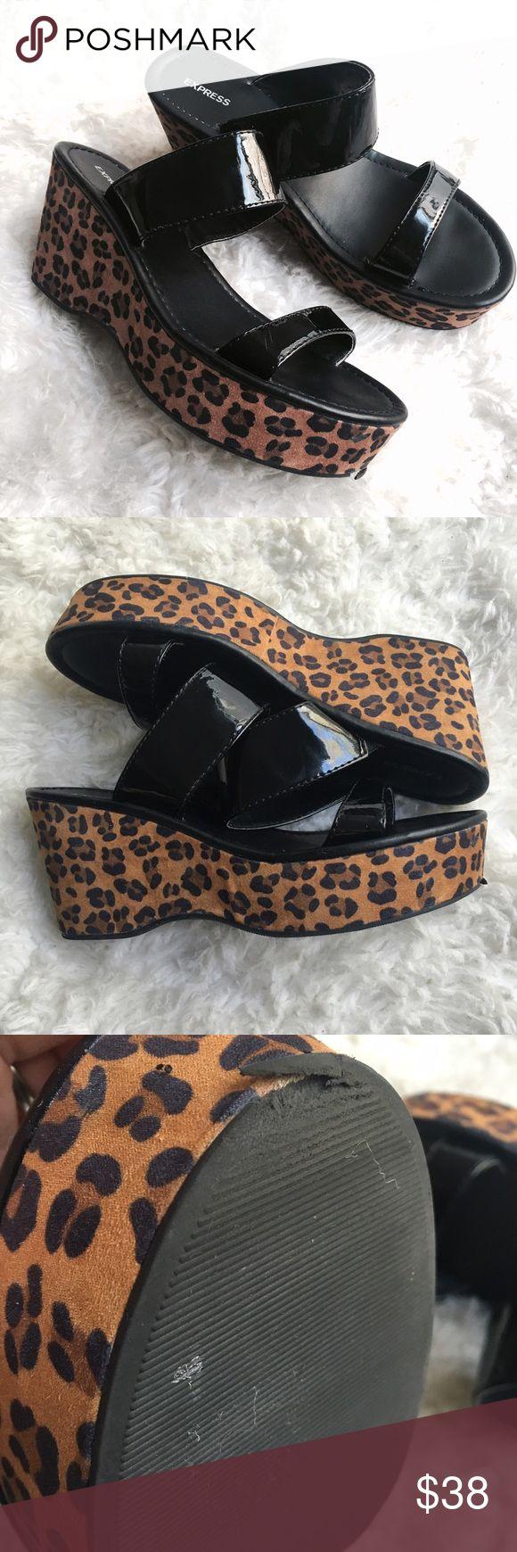 Express Leopard Sandal Platform Shoes Sz 8 Express   Women's   Sz 8   Leopard Print & Black    Platform   Flaw On Front Bottom Of Shoe   Express Shoes Platforms