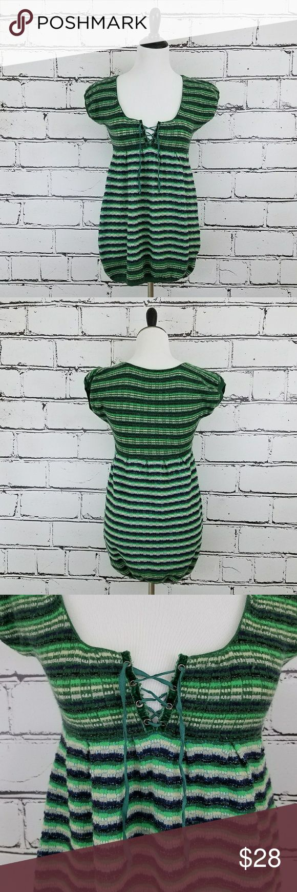 Free People Lace Front Top! Green, gray and sparkly silver striped short sleeved top. Sweater like material. Stretchy and soft. Lace front neckline. Length is about 28 inches and armpit to armpit is about 16 inches. Great condition! Free People Tops Tees - Short Sleeve