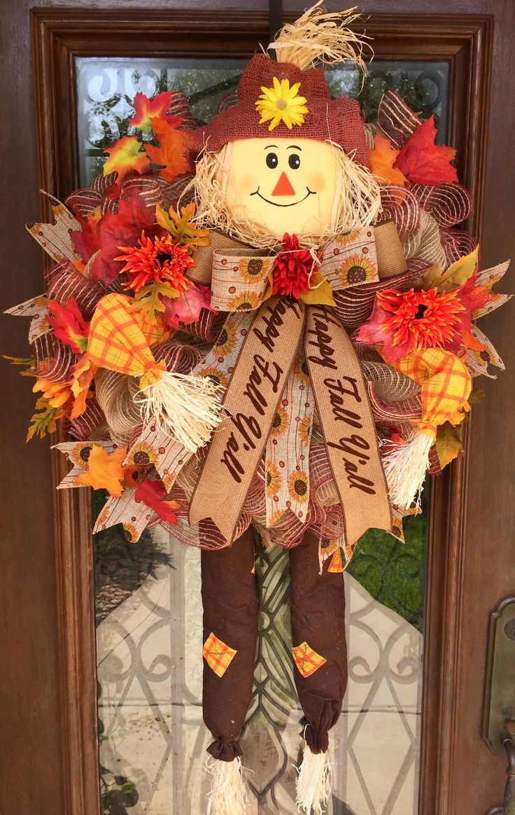 Fall scarecrow wreath made with the scarecrow kit I purchased from Trendytree.com. www.facebook.com/southernsass
