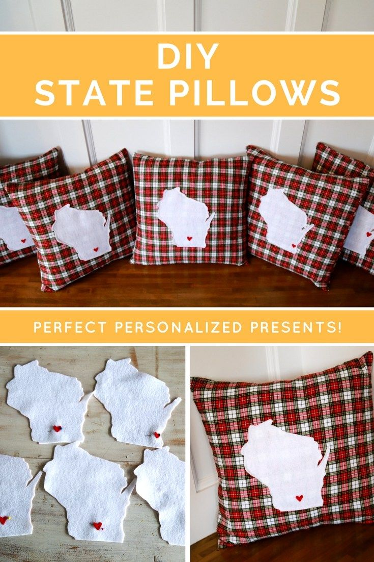 Create your own state specific pillow. Tutorial and free pattern included. Perfect DIY gift for friends and family.
