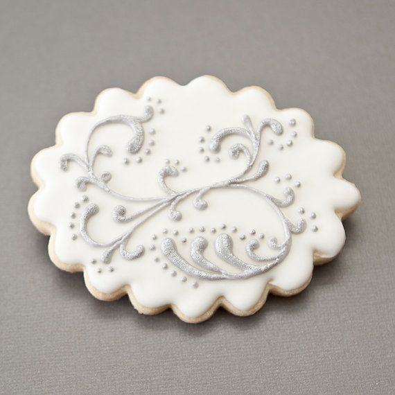 1 Dozen /Wedding Cookie Favors  Silver Swags Vintage by PastryTartBakery, $36.50