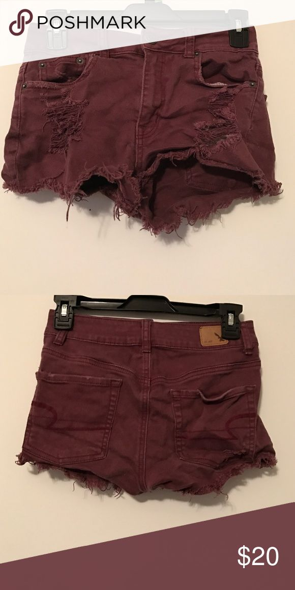 American Eagle shorts American Eagle high waisted burgundy shorts American Eagle Outfitters Shorts Jean Shorts