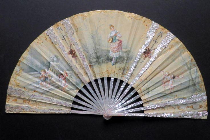 The dance of the angels, Marie Dumas fan, late 19th - Catalogue Art Nouveau fans - Fan d'éventails
