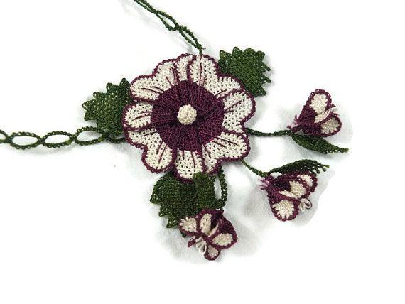 Crochet Necklace Unique Boho Turkish crochet Necklace, Needle Lace Oya Jewelry,Fabric Necklace Crochet, Statement Necklace, Flower Necklace,