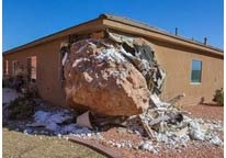 A Utah woman got a startlingly rude awakening at her hillside home over the weekend: a boulder in her bedroom at 3 a.m.Wanda Denhalter, 63, was home alone on Saturday when the enormous rock crashed into her room, breaking her jaw and sternum, and leaving a huge gash on her leg. Her husband Scot, who was out of town for the night visiting his son, told The Tribune he estimated the boulder that he returned home to was about 12 ft long, 9 ft high, and 9 ft wide. (I am grateful she lived through…