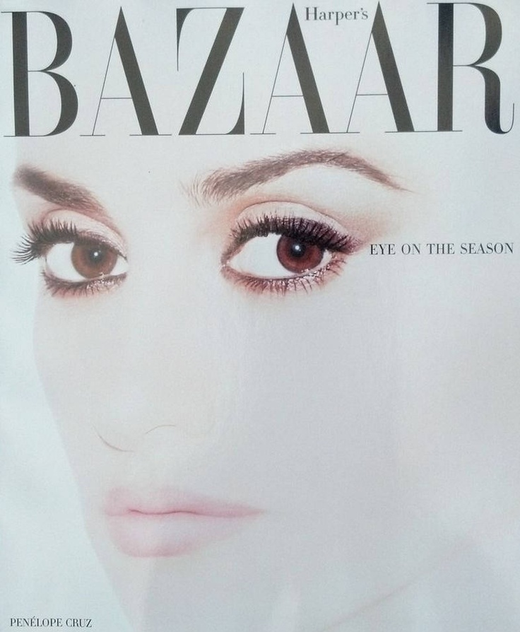 Penelope Cruz on the May 2012 Cover of Harper's Bazaar. Love the barely there lid shadow with heavier liner and smudged lower lashline. Perfect mascara application.