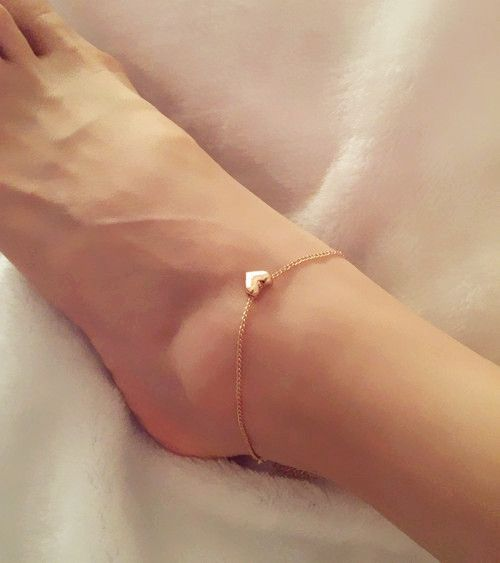Heart Anklet- Delicate Gold Heart Anklet. FREE WORLDWIDE SHIPPING