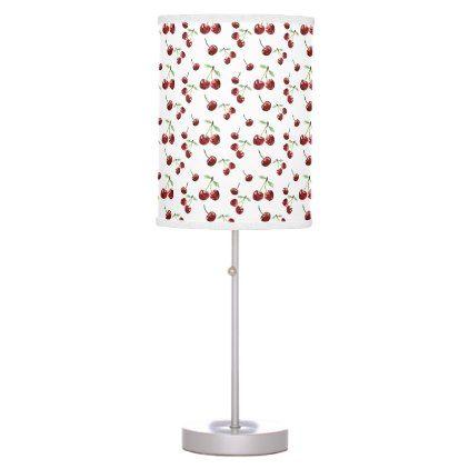 Cherry Pattern Cherries Fruits Summer Cute Cherry Desk Lamp - summer gifts season diy template ideas