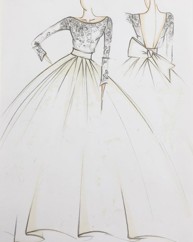 Every Great Wedding Dress Starts From A Simple Sketch Giuseppe Papini S Watercolor Fashion Illustration Dress Fashion Sketches Dresses Fashion Drawing Dresses