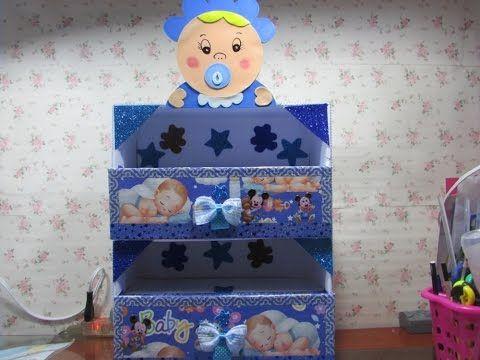 DIY-zapatera de carton para bebe// cardboard organizer for baby. - YouTube