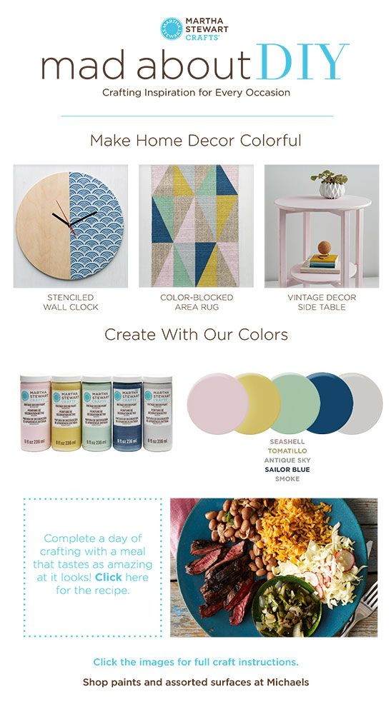 Martha Stewart Crafts Mad About DIY: Make Home Decor Colorful - get color palette inspiration with these pretty hues and 3 project ideas!