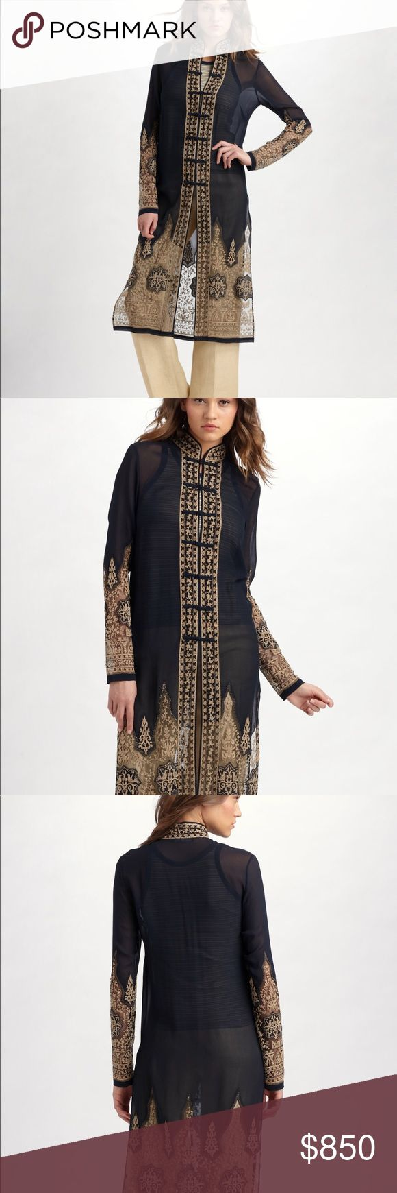 Ralph Lauren Cardigan Silk Duster!!!!!!!!!!!!!!! This romantic silk silhouette evokes Asian influence with intricate embroidery, a mandarin collar and tradition frog closures Ralph Lauren Blue Label Sweaters Cardigans