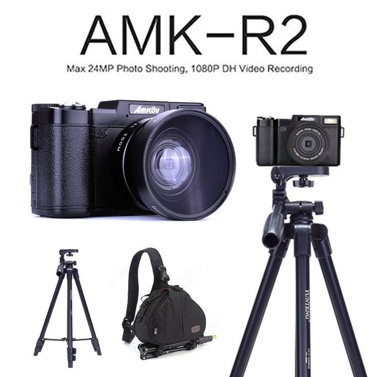 AMKOV AMK-R2 24MP 1080P HD DSLR Digital Camera+Wide-angle Lens+Tripod+Bagpack Free shipping