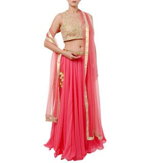 Pink Embroidered Georgette Lehenga Skirt With Crop Top & Dupatta