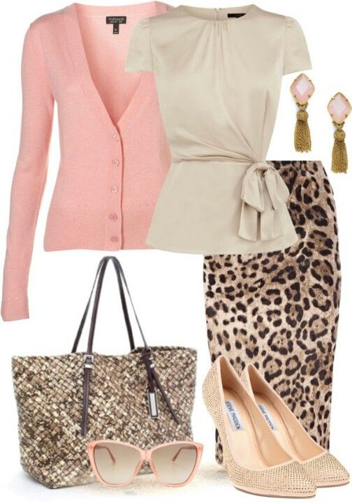 Work outfit: leopard print skirt and pink cardigan