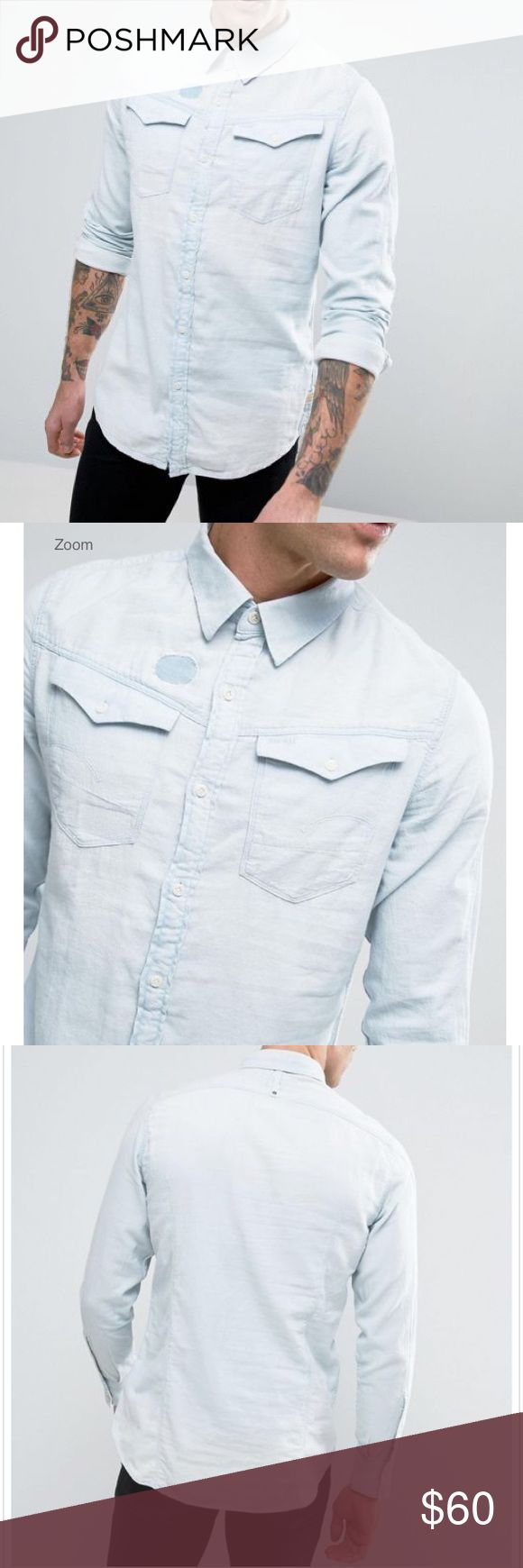 G Star Raw Men Slim Fit Denim Chambray Button Down G-STAR RAW  (New with tags $159)   • SOLD OUT Online - Rare!   • Men's Small - slim fit - true to size   • 100% cotton   • Chambray / denim shirt with worn in look and detailing   • Soft touch denim, light wash, point collar, button placket  • Approximate Measurements per website - 36 2/8 Chest 30 6/8 Waist 36 2/8 Hip 34 1/8 Arm Length G Star Raw Shirts Casual Button Down Shirts