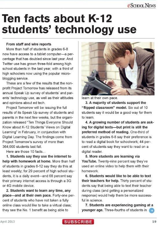 Article (Part 1) 10 Facts about K12 Students'Technology