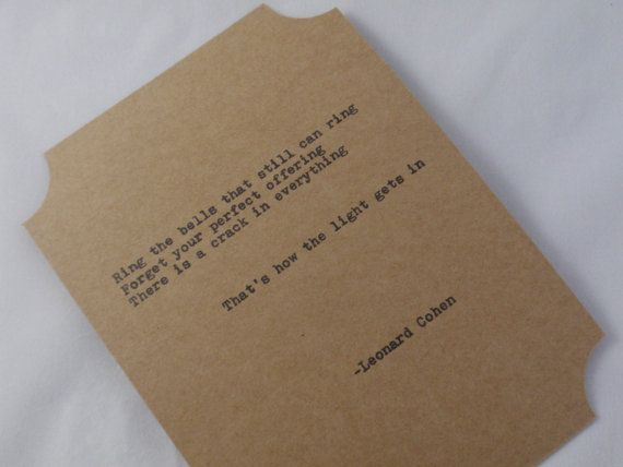 The Leonard Cohen Quote Card Collection Five by PoeticMadness