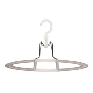 White & Taupe Non Slip Trouser Hanger Trouser / Skirt Hanger finished in white & taupe. The hanger is beautifully made in high quality polypropylene & features non-slip grips & a rotating hook. We have a matching suit hanger available.