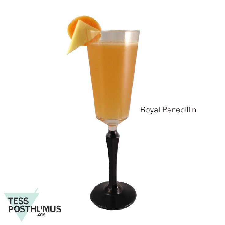 Scotch based Royal Penicillin cocktail with ginger, honey and champagne to make it a bit more palatable for the not so experienced whisky drinker.
