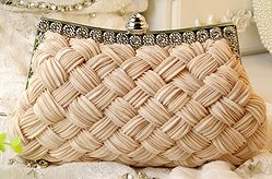 Woven diamond evening clutch bag