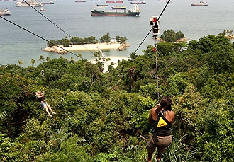 MegaZip Adventure Park - For fantastic fun and adventure in Singapore, look no further than the MegaZip Adventure Park. Perched atop Imbiah Hill on Sentosa Island, the Parks' range of attractions include zip lines (flying foxes), a climbing wall, a high rope obstacle course with 36 challenging elements and a simulated parachute jump. There's something for all ages, shapes and sizes. (Imbiah Hill Rd, Sentosa Island; tel 68845602)