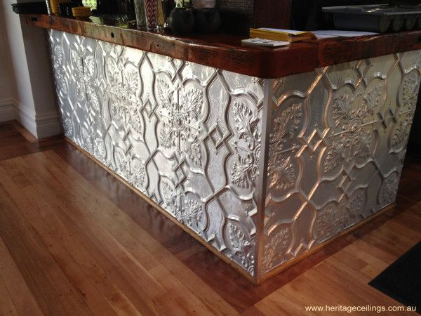 Pressed metal at Public and Co. in Fremantle. It is the Shield design and doesn't it look great on this counter front. For more info on this design see: http://www.heritageceilings.com.au/tempat/shield.php