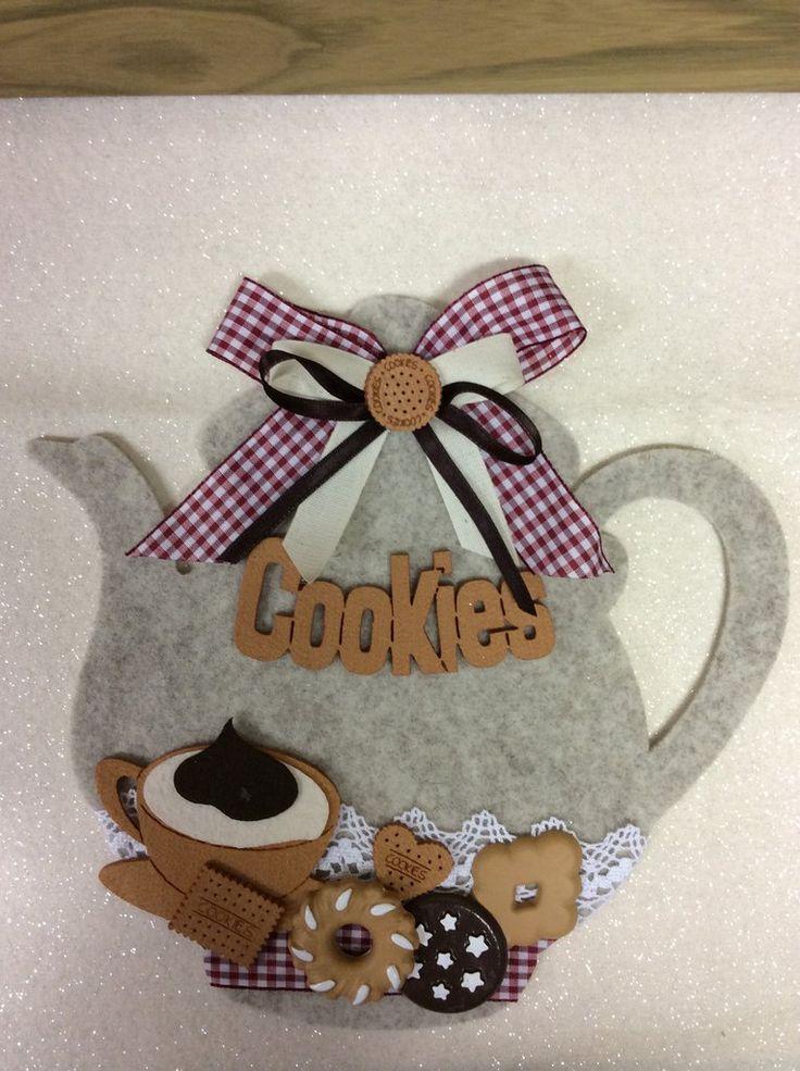 Teiera beige, con biscotti in ceramica, fatta a mano, decorazione per la casa, by Merceria dell'angolo, 20,00 € su misshobby.com