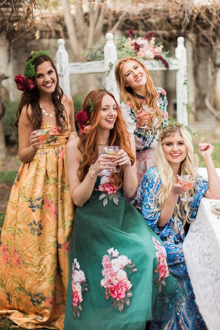 The 25 best floral bridesmaid dresses ideas on pinterest floral botanical bridal shower gossip girl meets pitch perfect bridesmaid hairfloral bridesmaidsbridesmaid dresses ombrellifo Choice Image