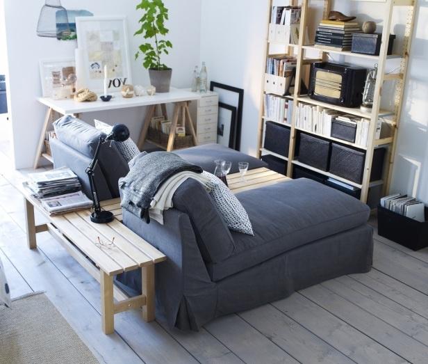 IVAR Regal mit KIVIK Recamiere, NORDEN Bank und Schreibtischplatte und -bock als Kombi für's Jugendzimmer