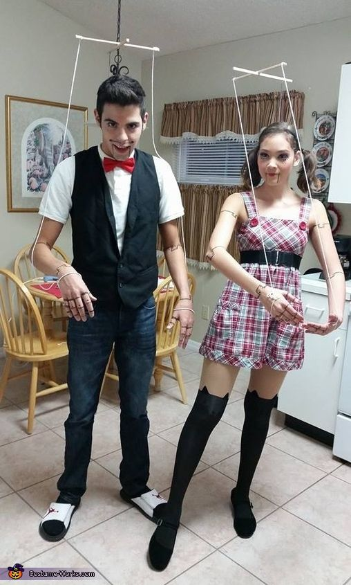 Angel: My boyfriend and I were thinking of a unique costume for this year. I was on Pinterest when I noticed a girl with puppet make-up on. That's when it hit...