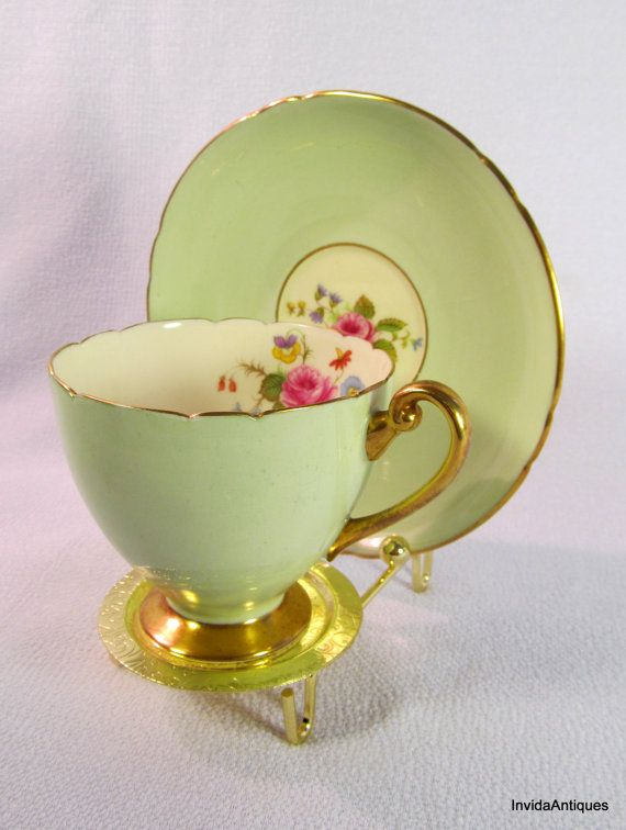 1928 Mint Green Shelley Tea Cup and Saucer Fine