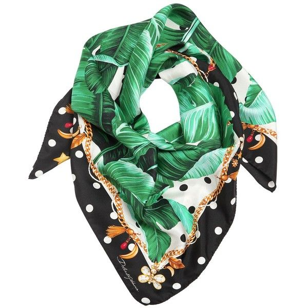 Dolce & Gabbana Women Leaf & Polka Dots Print Silk Twill Scarf (6.938.900 IDR) ❤ liked on Polyvore featuring accessories, scarves, necklaces, green, green scarves, polka dot scarves, green shawl and silk twill scarves