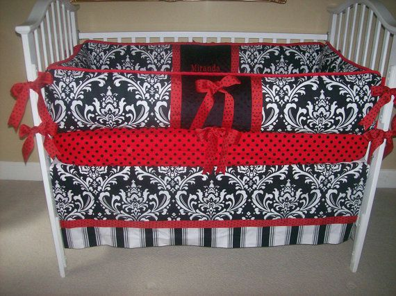 Black and White and Red Baby Bedding 4 piece by babydesignsbyelm, $189.00