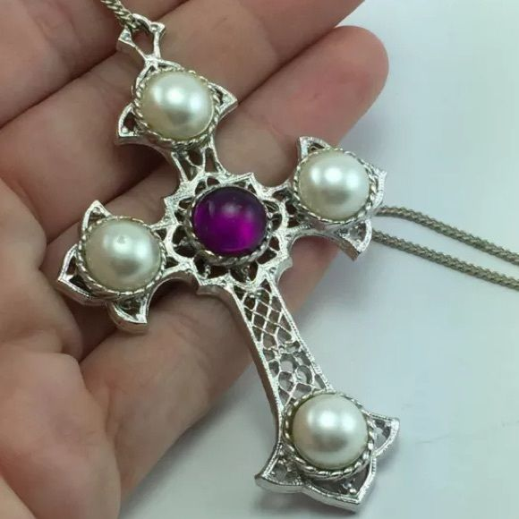 cov jewelry coventry maltese cross amethyst pearl silver 3656